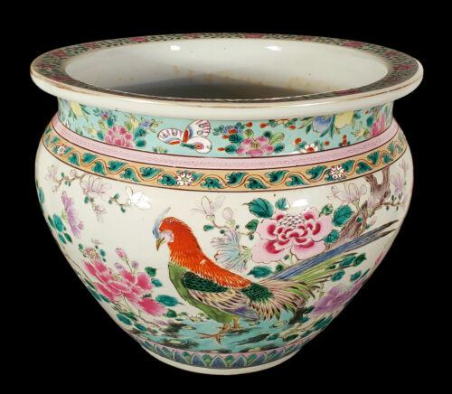 OLD CHINESE PORCELAIN FAMILLE ROSE JARDINIERE VASE BIRD FLOWER STRAITS PERANAKAN