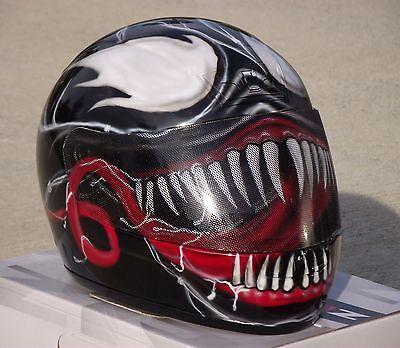 Airbrush Motorcycle Paint (Venom Custom Airbrush Painted motorcycle helmet )