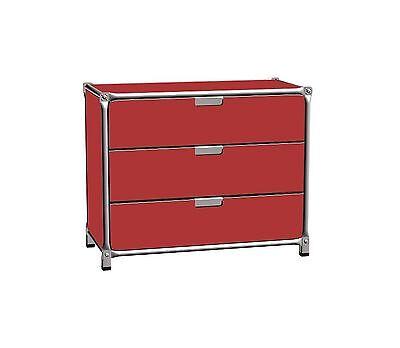 System 180 Sideboard rot Edelstahl Breite 75 cm 3 Schübe online kaufen