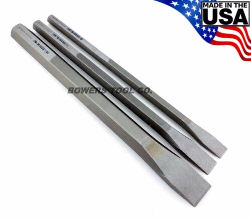 "Wilde Tool 3pc 12in. Extra Long Cold Chisel Set 1/2 3/4 & 1"" Cut Made in USA"