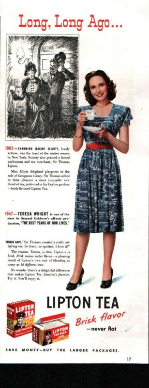 1947 Lipton Tea Teresa Wright Actress Color Vintage Print Ad 949