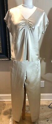 Talbots Collection Silk Satin Gold 2 Piece Pant Suit Size 12/14 Runs Small