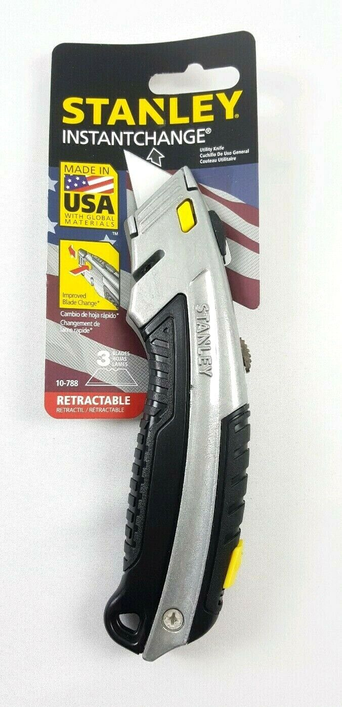 Curved Quick-Change Utility Knife, Stainless Steel Retractab