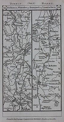 Original antique map WORCESTER, HEREFORDSHIRE, LEOMINSTER, RADNOR, Paterson 1785