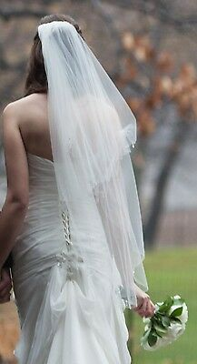 Ivory Fingertip Two Tier Veil - Crystal Diamante Beaded - Metallic Finished Edge