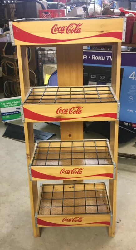 Coca Cola Coke 4 Tier Wooden Advertising Store Display Stand Rack*Free Shipping*