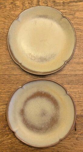 """(2) Frankoma Plainsman Desert Gold 5F Scalloped Edge Dinner Plate 10 1/4"""""""