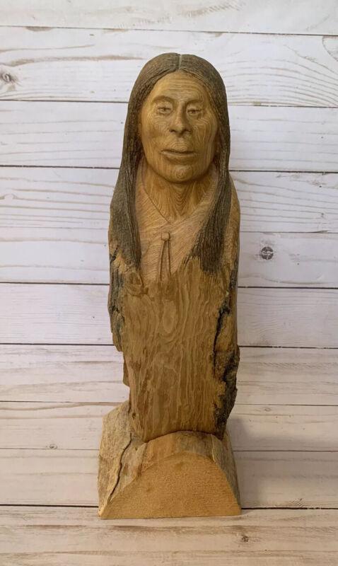 Native American Wood Carving Totem Tree Spirit By Larry Miller Folk Art