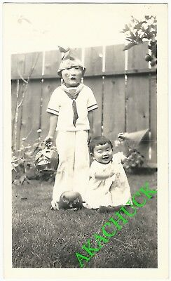 1930s Two Vintage Photos HALLOWEEN SCARY MASKED CHILD & PAPIER MACHE PUMPKINS C](Halloween Papier Mache Masks)