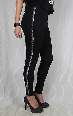 Weiße Streifen Leggings (1103 Sexy Freizeit Schwarz Leggins Glitzer Streifen Leggings Grau Weiß Fashion)
