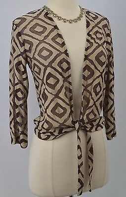 Chicos Travelers light layer top tie waist cardigan burnout shabby Chico 0 S NEW
