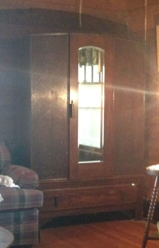 Antique English Oak Wardrobe Armoire w/ Beveled Mirror & Blanket Drawer