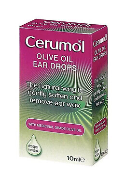 Cerumol Olive Oil Natural Ear Wax Remover Drops 10ml Medical Grade 100% Easy Use Oil Ear Wax