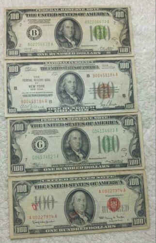 (4) $100 notes - 1928A, 1929, 1934A, 1966- free ship