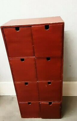 Vintage wooden 8 drawer library index/ file/ office