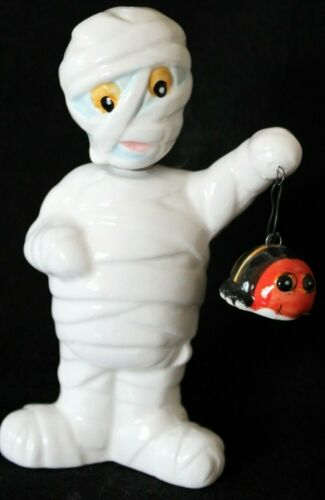 Halloween Decor Ceramic Wrapped Bobble Head  Mummy Figure