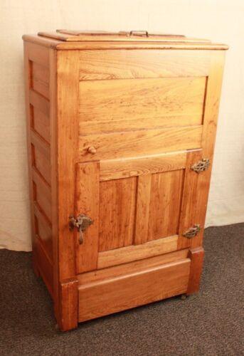 Vintage Antique Oak Raised Panel ICE BOX Cabinet Chest Wooden ICEBOX