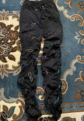 99%Is GOBCHANG DRAWSTRINGS TOGGLED SHELL TROUSERS BLACK & RAINBOW Sz 3