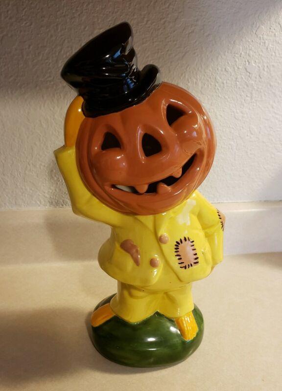 "Jack O Lantern Pumpkin Head Scarecrow 13"" Ceramic Yozie Mold Halloween 1970s"