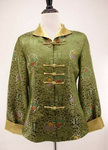 Vintage Green Satin Gold Embroidered Brocade Flower Asian Oriental Jacket Coat L