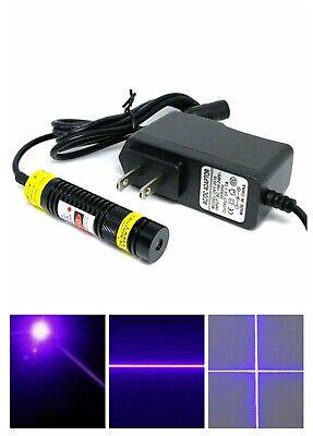 1668 405nm 100mw Violet Blue Laser Module W Focusable Dot Line Cross Heads 5v