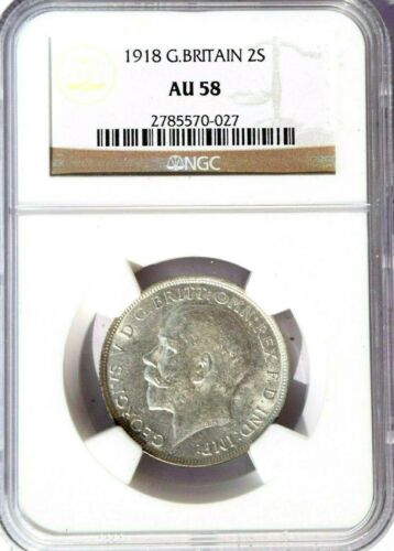1918 Great Britain 2 Shillings, Florin, NGC AU 58, KM-817, Brilliant White