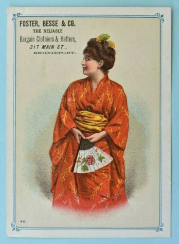 Antique Victorian Bridgeport Conn Advertising Trade Card Geisha Kimono Clothiers