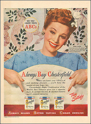 1945 Vintage ad  Chesterfield Cigarettes with Signe Hasso Actress Photo  122816)