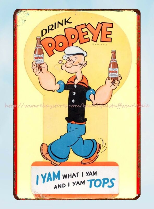 cottage shops drink popeye soda kitchen restaurant metal tin sign