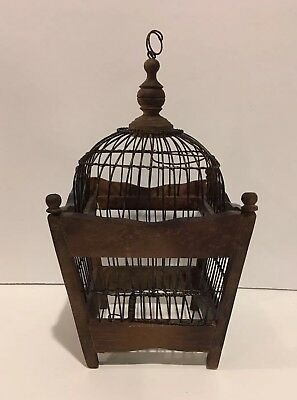 """AMAZING WOOD AND METAL WIRE BROWN DECORATIVE DOMED 12 1/2"""" BIRD CAGE"""