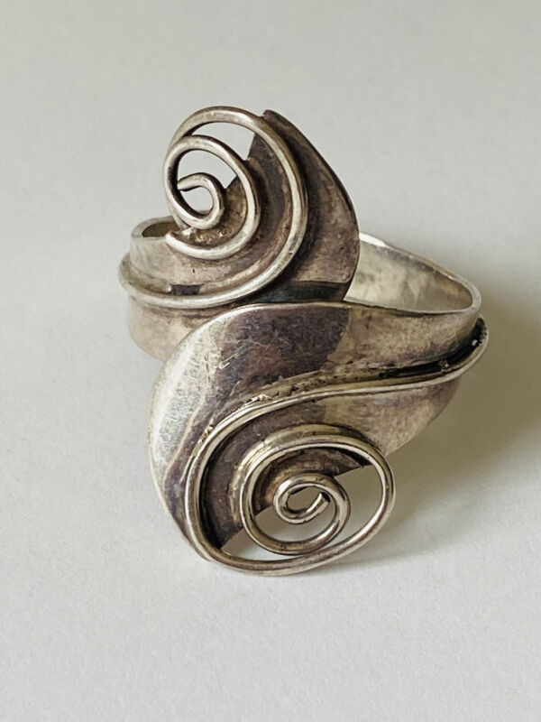 VINTAGE TAXCO MEXICO CBS BYPASS SWIRL STERLING SILVER RING ADJUSTABLE 9