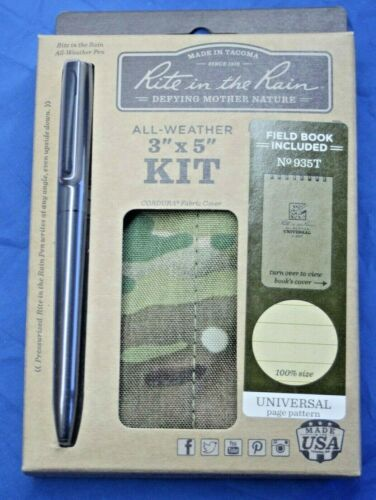 """Rite in the Rain  All Weather 3""""x5"""" Multicam kit 935 T Pen, Cover, Notebook"""