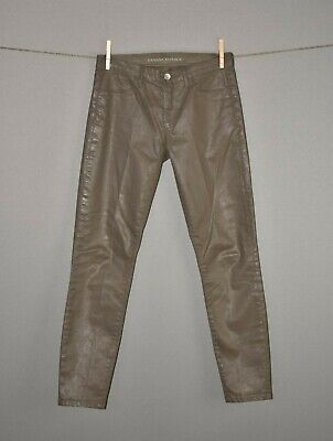 108 In Jeans - BANANA REPUBLIC $108 Luxe Sateen Coated Skinny Ankle Jean in Taupe Size 25