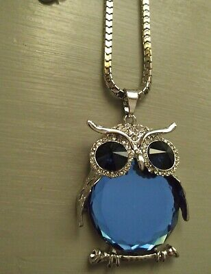 Owl Pendant/Necklace-Blue-Large-Silver-Long Sweater Chain