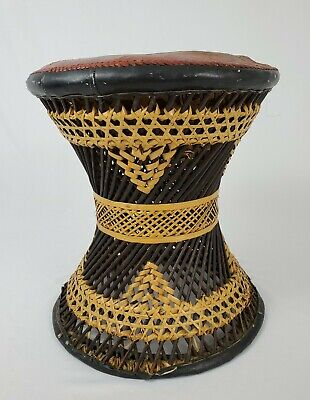 Vintage Woven Wicker Stool Leather Top Boho Moroccan African Table Mid-century