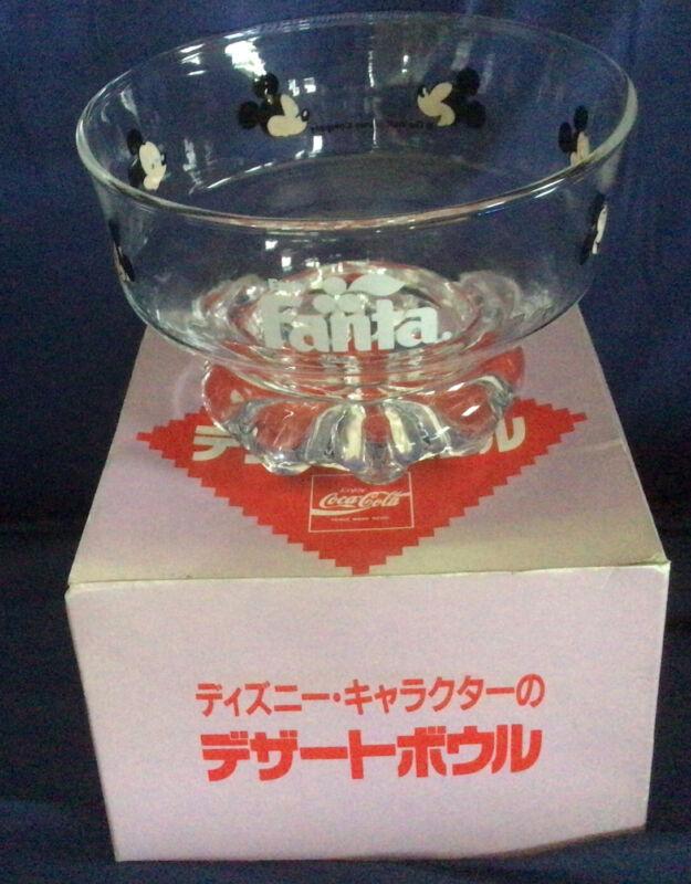 NOS Vintage Mickey Mouse Fanta Japan  glass bowl Okinawa Coke Coca Cola Disney