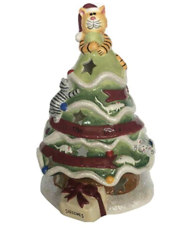 The Kitty Tree Candle House Blue Sky Tealight Cat Ceramic Christmas Holiday
