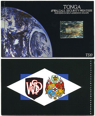 Tonga & Waksall Self Adhesive Stamp Booklet 1994 Scott # 870 Tongastar Hologram