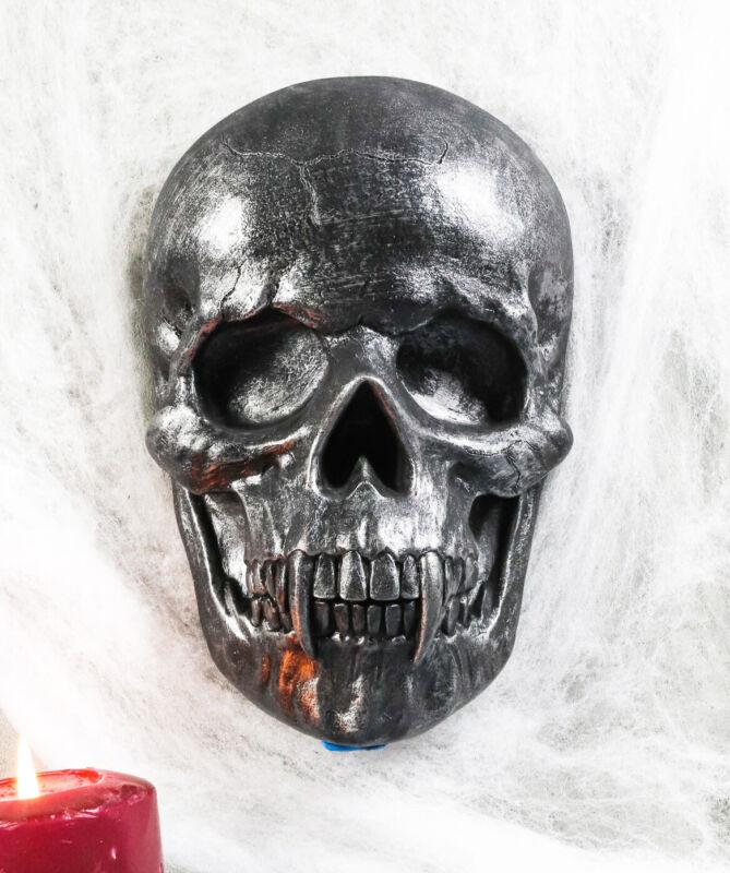 "Ebros Morbid Ghastly Demon Vampire Fanged Skull Hanging Wall Decor Plaque 9""H"