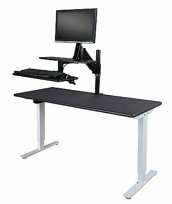Stehpult schwarz, Sit-Stand Schreibtischaufsatz, ergonomisch, höhenverstellbar