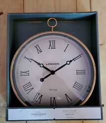 Wall Clock round 10 in Wall Clock Aged Brass Finish brand New