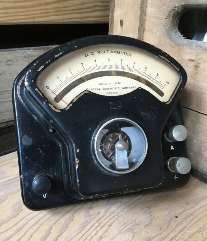 Vintage DC Ammeter Central Scientific Chicago Illinois Steampunk Antique Gauge