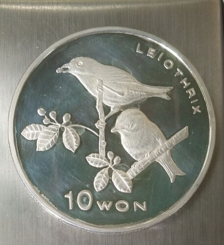 10 Won 2004 Korea Silver 999, LEIOTHRIX BIRDS, 1 Oz. FAUNA Ounce Proof Scarce !!