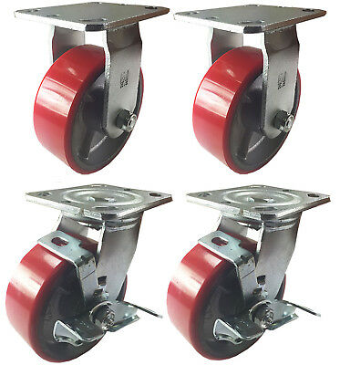 4 Heavy Duty Caster Set 4 5 6 Polyurethane On Cast Iron Wheels No Mark Red