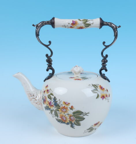 Antique German or English Porcelain Silver Plate Mounted Teapot Hot Water Kettle