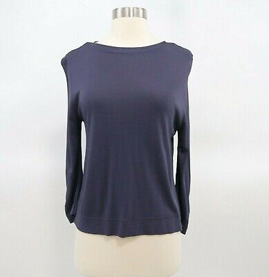 Malo T-Shirt Blouse Top Womens Long Sleeve Navy Blue US10 IT46 Italy