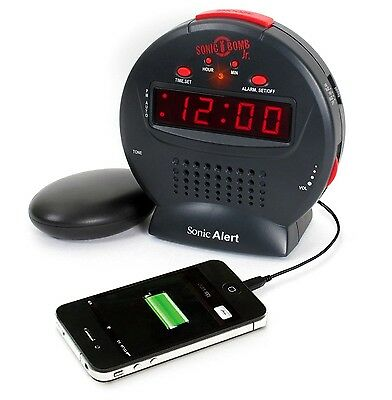 NEW Sonic Alert Bomb Clock Alarm Bed Shaker Loud Vibrating Snooze USB CHARGER