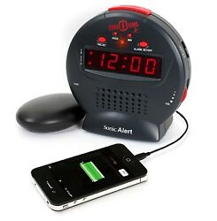 NEW Sonic Alert Bomb Clock Alarm Bed Shaker Loud Vibrating Snooze USB CHARGER