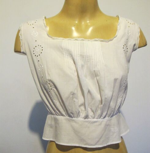CAMISOLE Lingerie Genuine French Vintage Antique White Cotton XS Handmade Emb