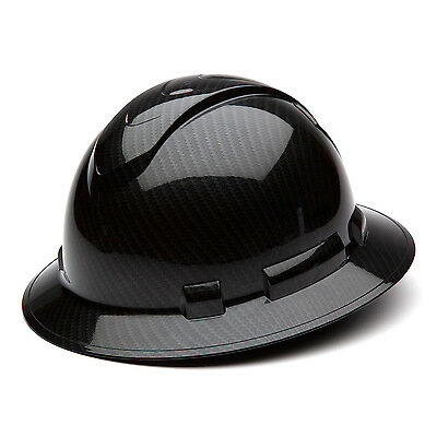 Pyramex Ridgeline Hard Hat Shiny Graphite Pattern Black Full Brim Hp54117s